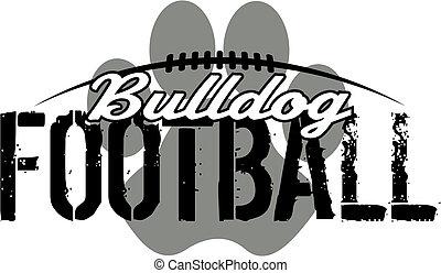 bulldogg, tryck, fotboll, tass