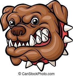 bulldogge, böser , maskottchen, kopf, karikatur