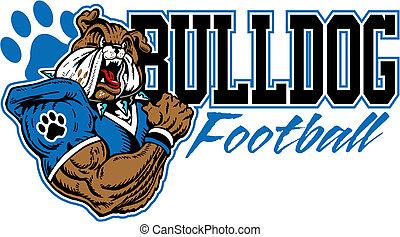 bulldogge, fußball, design, mittel