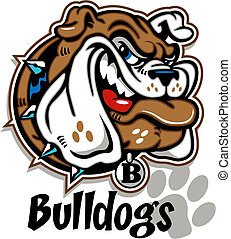 bulldogge, grinsen, karikatur, gesicht