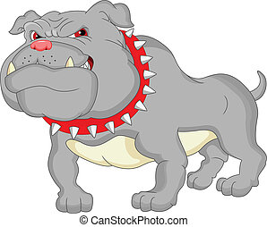bulldogge, karikatur, englisches
