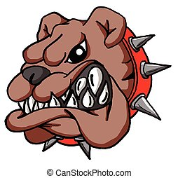 bulldogge, karikatur, gesicht