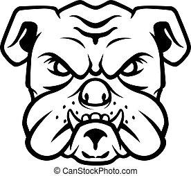 bulldogge, kopf, symbol