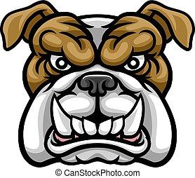 bulldogge, mittel, sport, maskottchen
