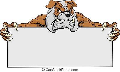 bulldogge, sport, zeichen, maskottchen