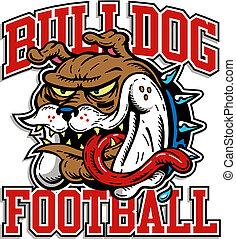 bulldogge, verrückt, fußball, design