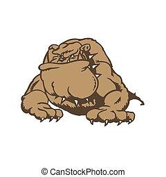 bulldogge, zeichen, karikatur
