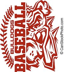 bulldogs baseball team design with stitches and half mascot...