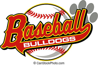 bulldogs baseball with tail and paw print
