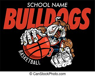 bulldogs basketball team design with muscular mascot player...