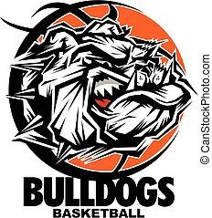 bulldogs basketball team design with mean mascot face inside...
