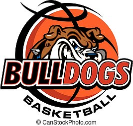 bulldogs basketball team design with mascot head inside...