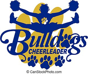 bulldogs cheerleader team design with cheerleader and paw...