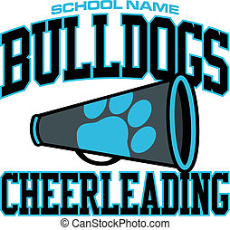 bulldogs cheerleading design with megaphone and paw print