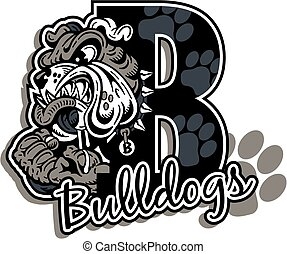bulldogs team design with mean bulldog mascot drooling