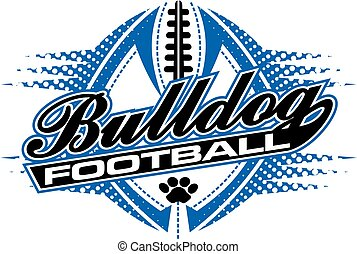 bulldogs football team design with paw print and ball for...