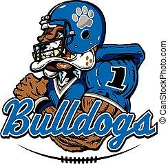bulldogs football - bulldog football player mascot design
