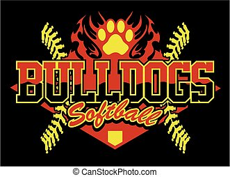 bulldogs softball team design with flaming paw print for...