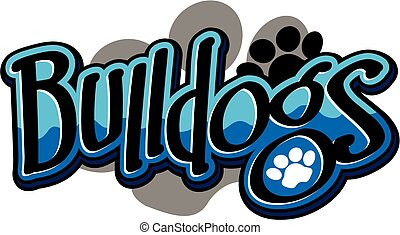 bulldogs team design with paw print for school, college or ...