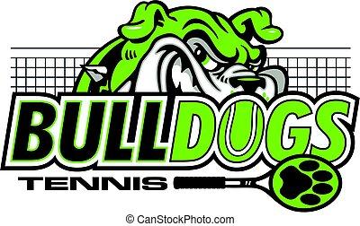 bulldogs tennis team design with mascot head for school,...