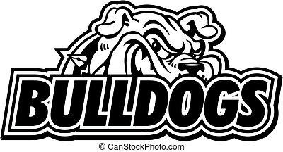 bulldogs - black and white bulldogs mascot design for...