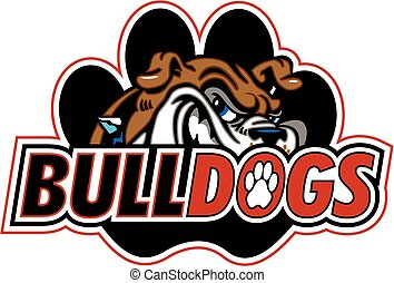 bulldogs logo design with mascot head and paw print for...