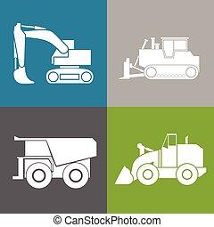 bulldoze, escavador, trator