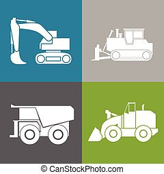 bulldoze, excavateur, tracteur