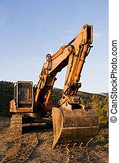 Bulldozer - A big orange bulldozer at construction site