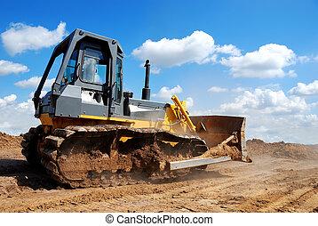 bulldozer, action, lame, élevé