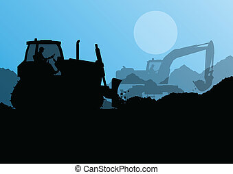 Bulldozer and excavator loader at industrial construction site vector background illustration