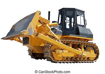 bulldozer, blanc, sur, côté