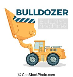 Bulldozer building machine realistic logo design on white. Crawler tractor