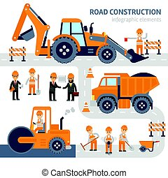 bulldozer., construcción, construcción, vector, infographic, elementos, trabajadores, camino, design., plano, excavador, rodillo