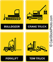 Bulldozer, crane, tow truck