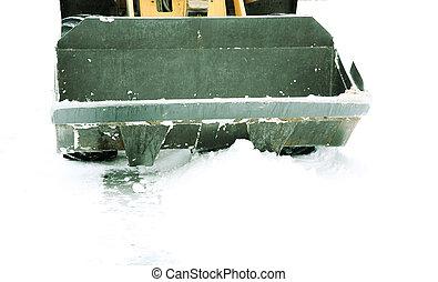 bulldozer, dans, hiver