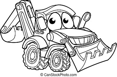 Bulldozer Digger Cartoon Character