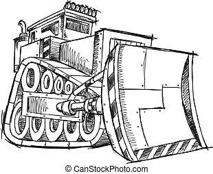 Bulldozer Doodle Sketch Vector Illustration Art