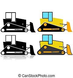 bulldozer, ensemble, icône