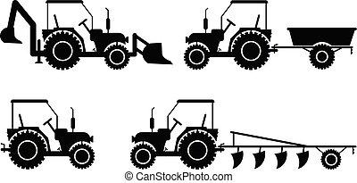 bulldozer, ensemble, silhouette, classeur, agricole, tracteur