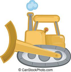 Bulldozer - Cartoon Illustration of of a Bulldozer...