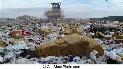 Bulldozer flattening landfill - Bulldozer flattening garbage...