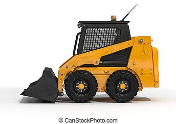 bulldozer, fond blanc, 3d