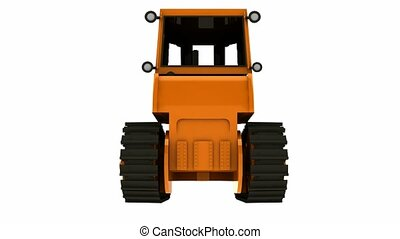 Bulldozer rotated on circle. With alpha channel