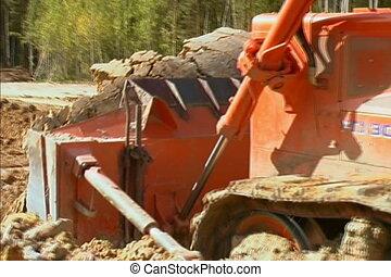 Bulldozer. - Bulldozer at construction site.