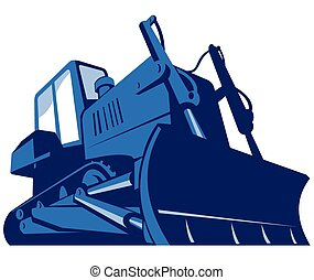 vector illustration of a bulldozer viewed from front side from a low angle on isolated white background done in retro style.