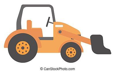 bulldozer, grand, jaune
