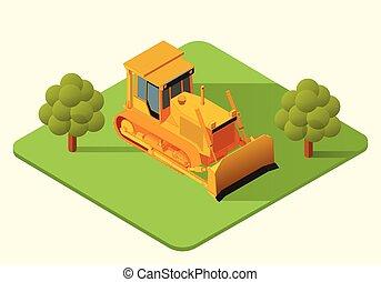 bulldozer heavy machine vector