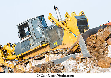 bulldozer, hiver, surgelé, sol, chargeur, excavation, travaux