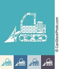 bulldozer, icône